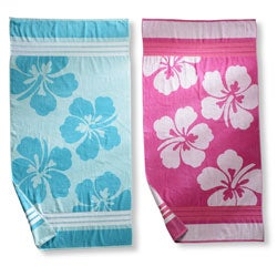 Hawaiian Flower Oversized Cotton Jacquard Beach Towel (Set of 2)