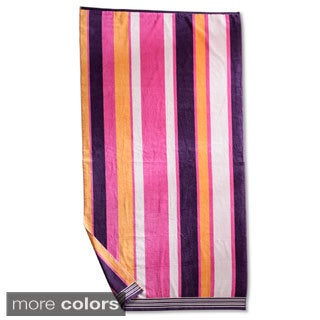 Superior Collection Luxurious Oversized Cotton Jacquard Beach Towels- Stripes ( Set of 2)