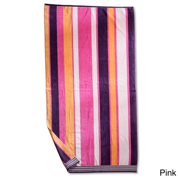 Superior Collection Luxurious Oversized Cotton Jacquard Beach Towels - Stripes (Set of 2)