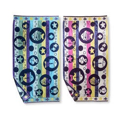 Fish Bubbles Oversized Cotton Jacquard Beach Towels (Set of 2)