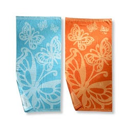 Butterflies Oversized Cotton Jacquard Beach Towels (Set of 2)