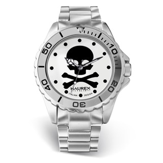 Women's Haurex Italy 'Ink' Aluminum Skull Dial Watch