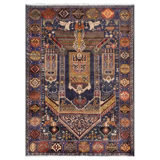 Afghan Hand-knotted Tribal Balouchi Blue/ Yellow Wool Rug (3'11 x 5'6)