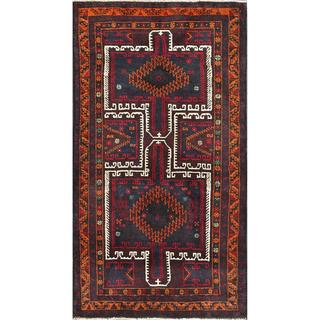 Afghan Hand-knotted Tribal Balouchi Navy/ Red Wool Rug (3'5 x 6'1)