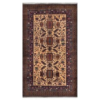 Afghan Hand-knotted Tribal Balouchi Light Brown/ Navy Wool Rug (3'9 x 6'5)