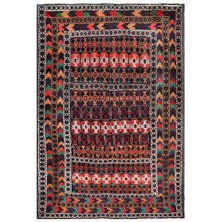 Afghan Hand-knotted Tribal Balouchi Navy/ Red Wool Rug (4'1 x 6'1)