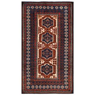 Afghan Hand-knotted Tribal Balouchi Navy/ Red Wool Rug (3'8 x 6'7)
