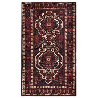 Afghan Hand-knotted Tribal Balouchi Dark Grey/ Red Wool Rug (4'0 x 7'0)