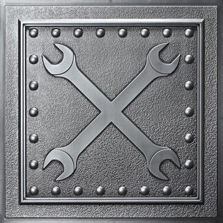 Wrenches Antique Nickel Ceiling Tile (Pack of 10)