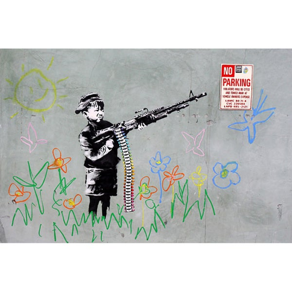 Banksy 'Boy with Gun' Medium Canvas Print Wall Art