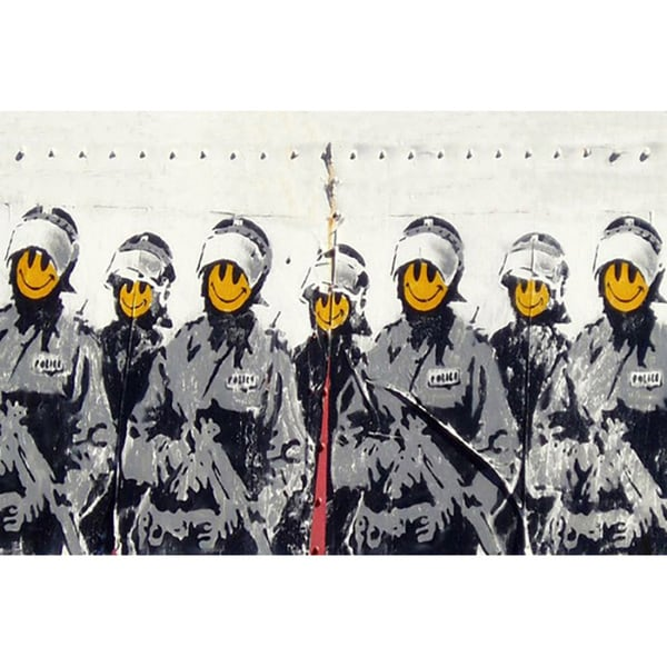 Banksy 'Smiley Cops Coppers' Canvas Print Wall Art