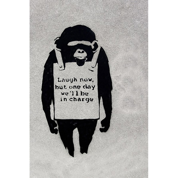Banksy 'Laugh Now, Sandwich Board-wearing Monkey' Canvas Print Wall Art