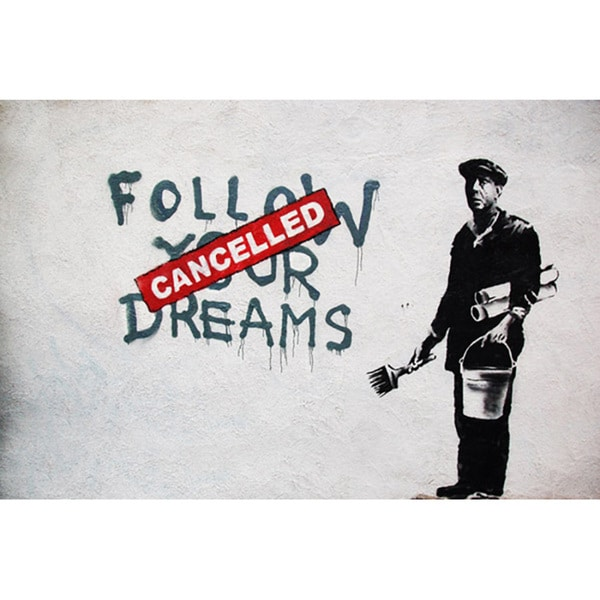 Banksy 'Dreams Cancelled' Canvas Print Wall Art