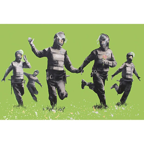 Banksy 'Riot Police in the Field, Peace' Canvas Print Wall Art