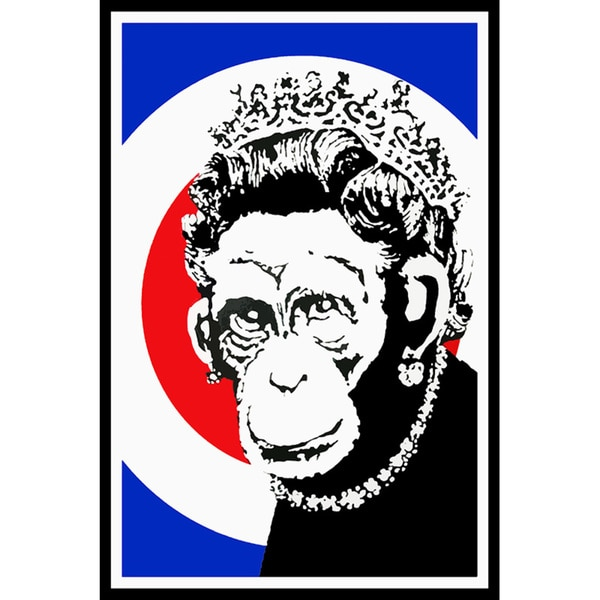 Banksy 'Monkey Queen Elizabeth' Canvas Print Wall Art