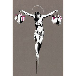 iCanvas Banksy 'Jesus Christ With Shopping Bags' Canvas Print Wall Art