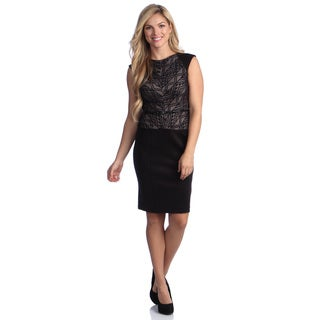 London Times Women's Belted Lace Sheath Dress