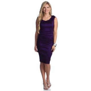 London Times Women's Ruffle Neck Ruched Sheath Dress