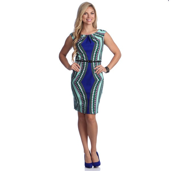 London Times Women's Printed Belted Sheath Dress