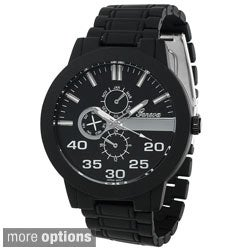 Geneva Platinum Men's Round Face Metal Link Watch