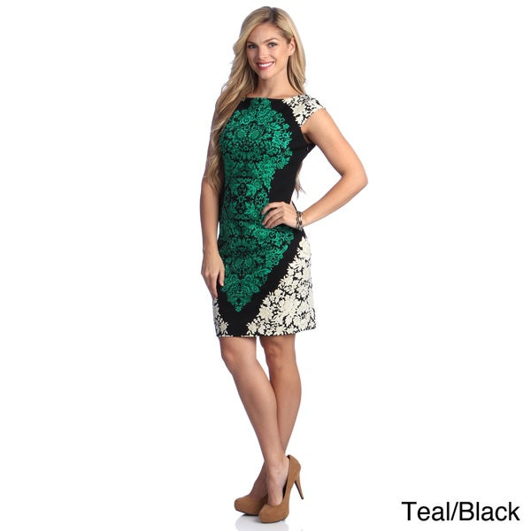 London Times Women's Floral Printed Cap Sleeve Sheath Dress