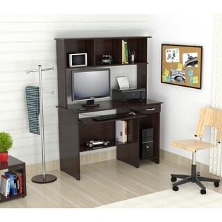 Inval Espresso-Wenge Computer Work Center with Hutch