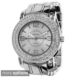 Geneva Platinum Men's Round Face Rhinestone Accent Link Watch