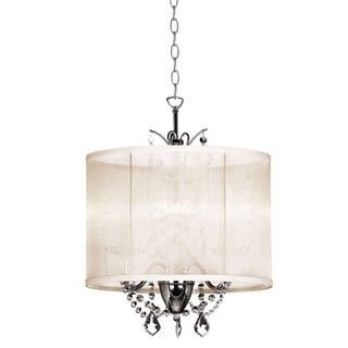 Designer Cream Oyster Silk Drum Shade 3-Light Crystal Mini Chandelier