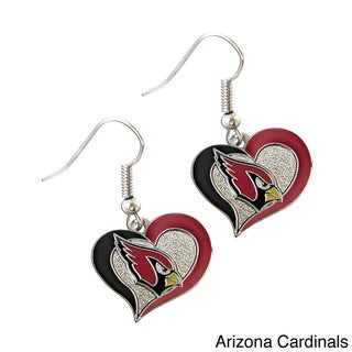 NFL Swirl Heart Shape Logo Dangle Earrings