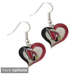 NFL Swirl Heart Shape Logo Dangle Earrings