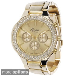 Geneva Platinum Rhinestone Accent Polished Link Watch