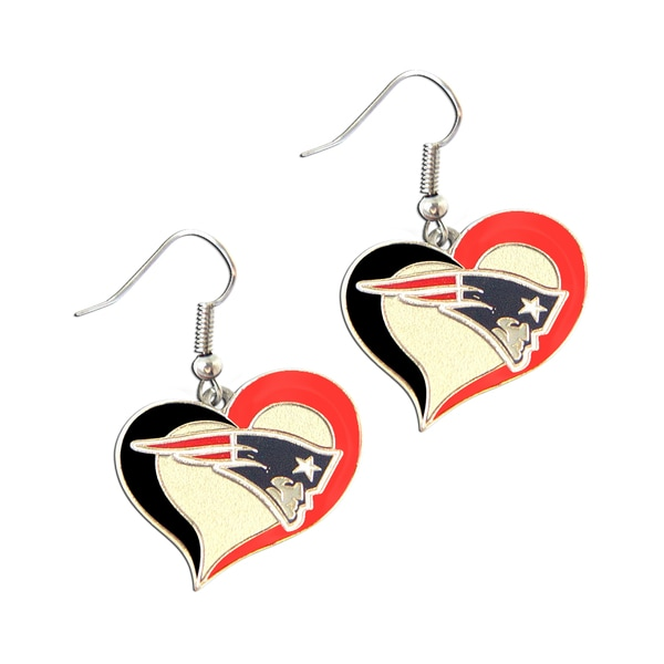 NFL New England Patriots Swirl Heart Shape Dangle Logo Earrings