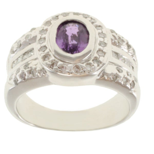 Michael Valitutti 14k White Gold Purple Sapphire and Diamond Ring (Size 7)