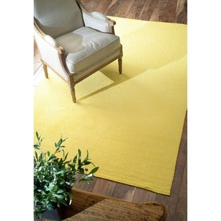 nuLOOM Handmade Flatweave Diamond Yellow Cotton Rug (8' x 10')