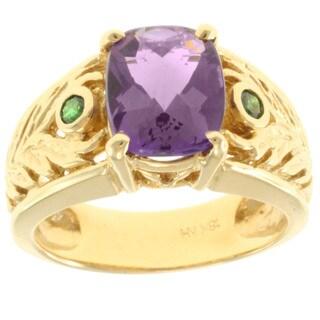 Michael Valitutti 18k Yellow Gold Amethyst and Tsavorite Ring