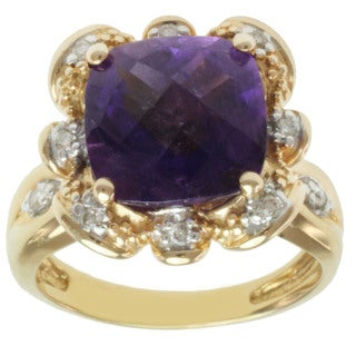 Michael Valitutti 14K Yellow Gold Square Amethyst and Diamond Ring