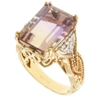 Michael Valitutti 14k Yellow Gold Ametrine and Diamond Ring
