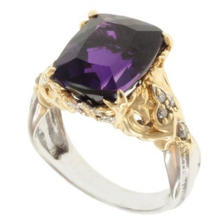 Michael Valitutti 14k Two-tone Gold Cushion-cut Amethyst and Diamond Ring