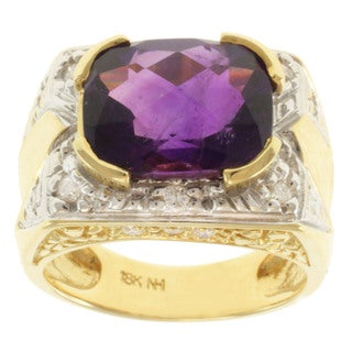 Michael Valitutti 18k Two-tone Gold Amethyst and Diamond Ring (Size 7)