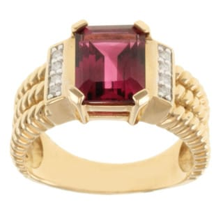 Michael Valitutti 14k Yellow Gold Pink Tourmaline and Diamond Ring (Size 9)