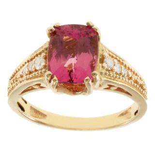 Michael Valitutti 14k Yellow Gold Pink Cushion-cut Tourmaline and Diamond Ring (Size 7)