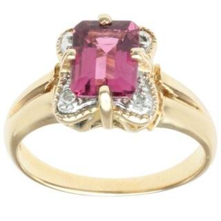Michael Valitutti 14k Yellow Gold Pink Octagon-cut Tourmaline and Diamond Ring (Size 7)