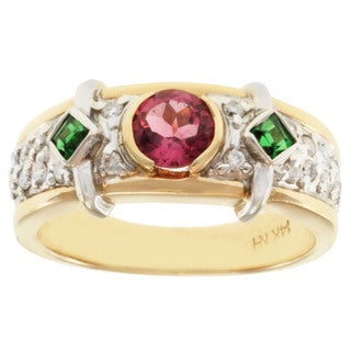 Michael Valitutti 14k Two-tone Gold Pink Tourmaline, Tsavorite and Diamond Ring