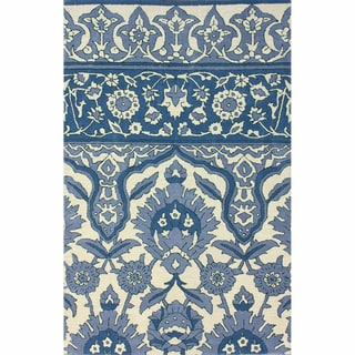 nuLOOM Handmade Oriental Traditional Open Field Wool Blue Rug (5' x 8')