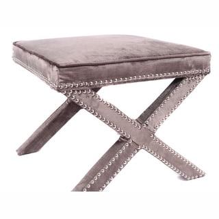 nuLOOM Contemporary Nailhead X Bench Grey Velvet Ottoman