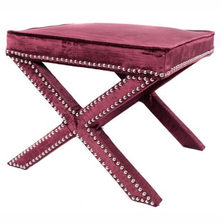 nuLOOM Contemporary Nailhead X Bench Wine Velvet Ottoman