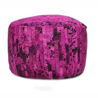 nuLOOM Pink Hand-stitched Overdyed Acid washed Cowhide Pouf