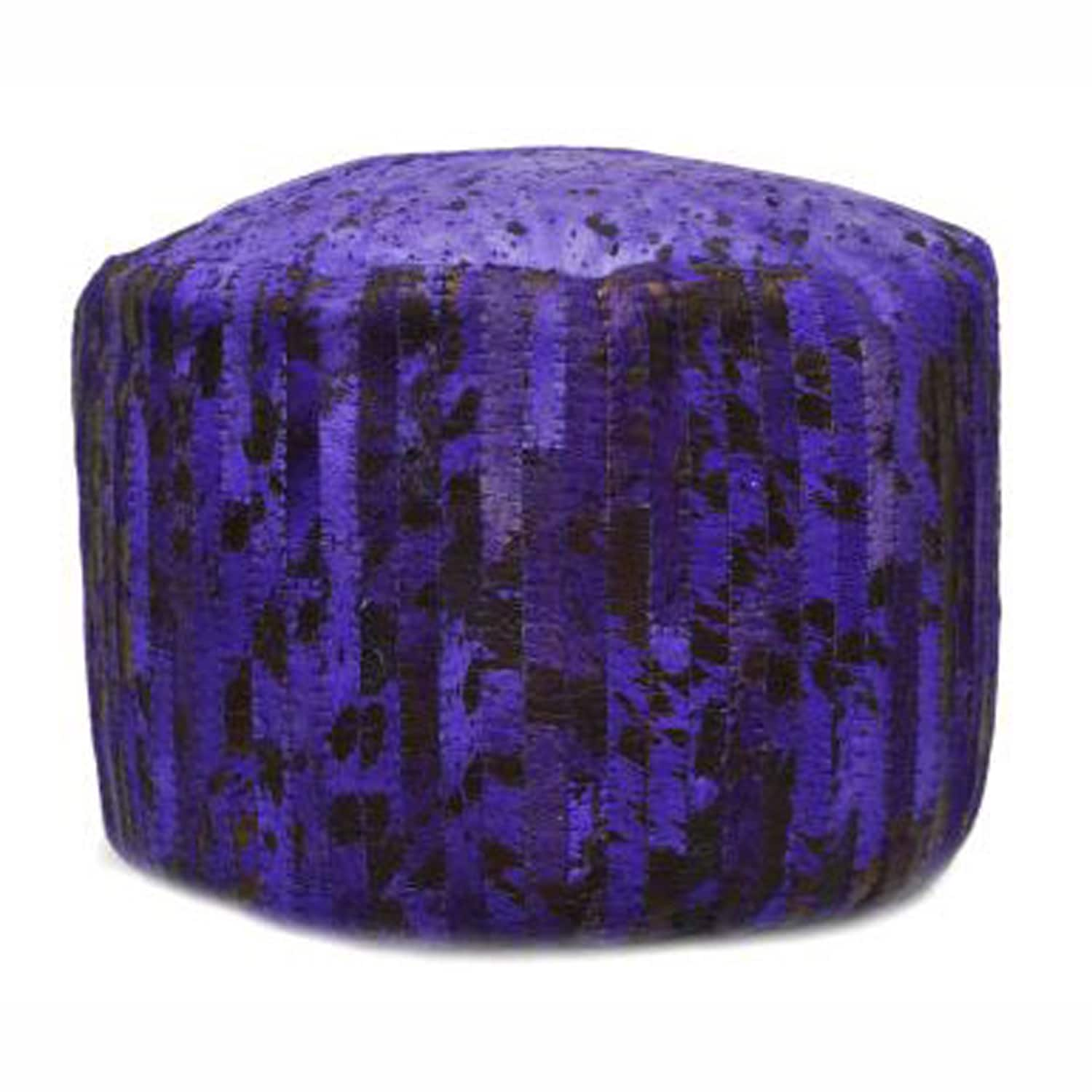 nuLOOM Violet Modern Hand-stitched Overdyed Acid washed Cowhide Pouf at Sears.com