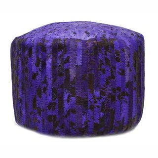 nuLOOM Violet Modern Hand-stitched Overdyed Acid washed Cowhide Pouf