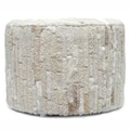 nuLOOM Contemporary Cream Cowhide Patch Pouf